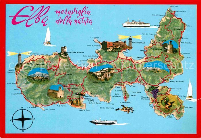 Elba Karte.Ak Ansichtskarte Isola D Elba Insel Landkarte Mit Sehenswuerdigkeiten Kat Italien