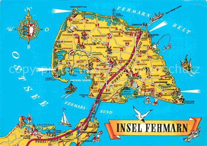 insel fehmarn karte AK / Ansichtskarte Insel Fehmarn Landkarte mit Sehenswuerdigkeiten