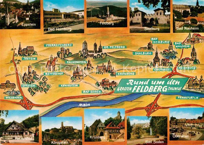 AK / Ansichtskarte Feldberg Taunus und Umgebung Landkarte mit Sehenswuerdigkeiten Kat. Schmitten