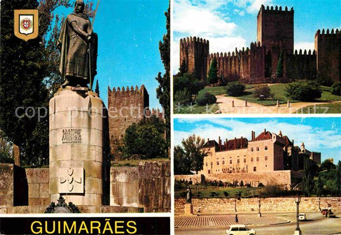 AK / Ansichtskarte Guimaraes Estatua de Alfonso Henriques Castelo Praca da Mumadona Kat. Guimaraes