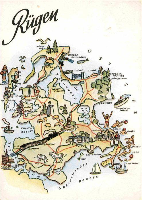 Ak Ansichtskarte Insel Ruegen Landkarte Kat Bergen Nr Kb62258