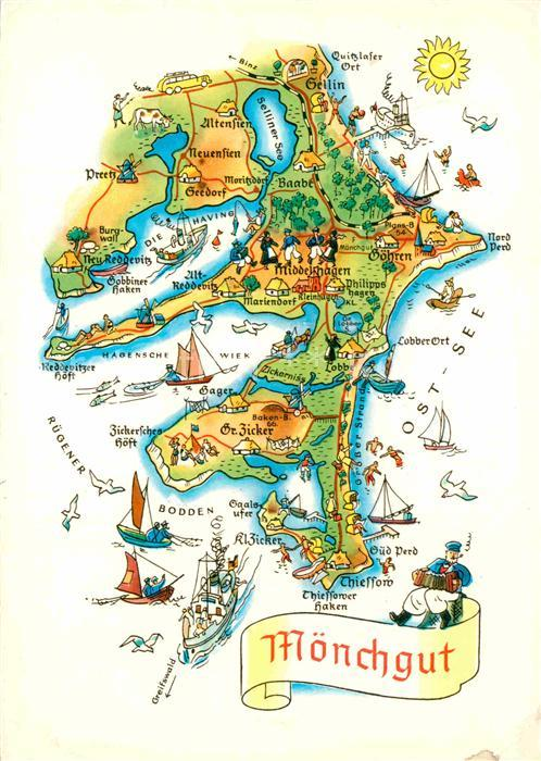 Karte Rügen.Ak Ansichtskarte Moenchgut Ruegen Insel Landkarte Kat Bergen
