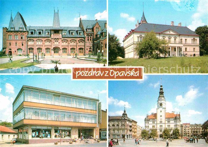 AK / Ansichtskarte Opava Troppau Zamek Radunzamek obchodni dum Hradecanka Maje s vezi Hlaskou Kat. Opava