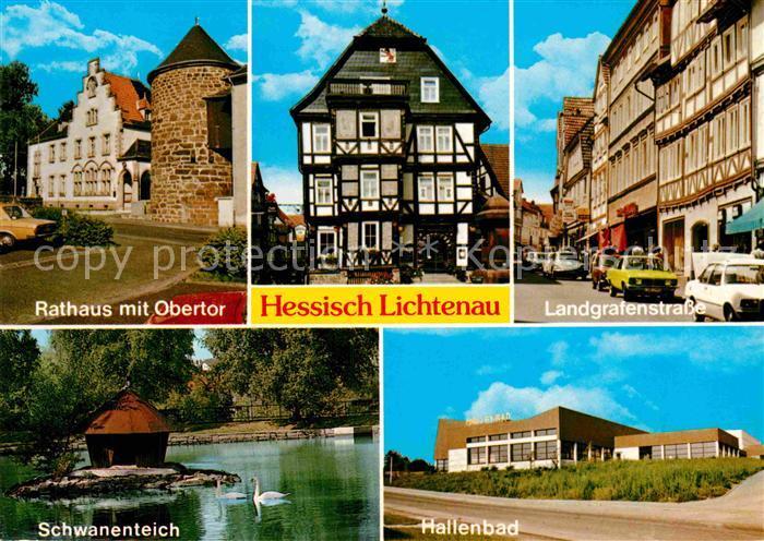 AK / Ansichtskarte Hessisch Lichtenau Rathaus mit Obertor Landgrafenstr Schwanenteich Hallenbad Kat. Hessisch Lichtenau