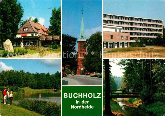 ak ansichtskarte buchholz nordheide hotel pauluskirche krankenhaus stadtsee muehlenbach in. Black Bedroom Furniture Sets. Home Design Ideas