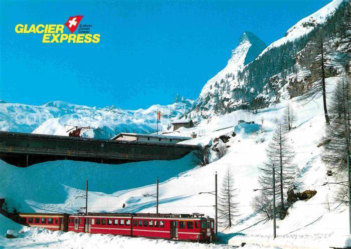 AK / Ansichtskarte Eisenbahn Glacier Express Zermatt Heliport Matterhorn  Kat. Eisenbahn