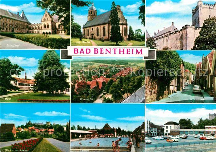AK / Ansichtskarte Bad Bentheim Schlosshof Ref Kirche Schloss Bad Panorama Wilhelmstr Schwimmbad Kat. Bad Bentheim