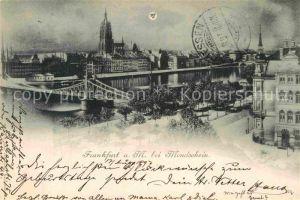 AK / Ansichtskarte Frankfurt Main Mondschein Dom Eisener Steg  Kat. Frankfurt am Main