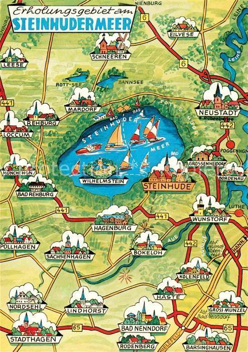 AK / Ansichtskarte Steinhuder Meer und Umgebung Landkarte Kat. Wunstorf