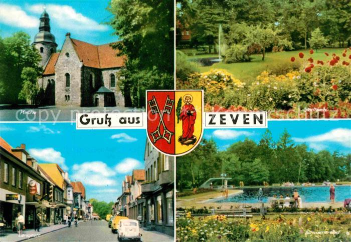 AK / Ansichtskarte Zeven Kirche Stadtpark Langestr Schwimmbad Kat. Zeven