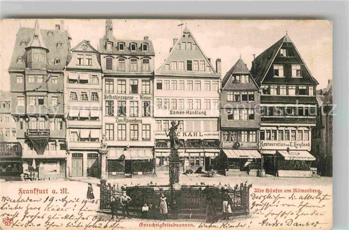 AK / Ansichtskarte Frankfurt Main Roemerberg Gerechtigkeitsbrunnen Kat. Frankfurt am Main