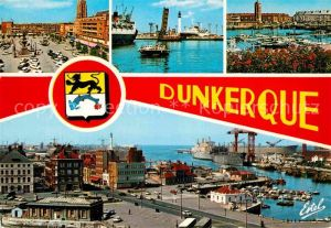 AK / Ansichtskarte Dunkerque Place Jean Bart Ecluse Trystram et le phare La tour du Leughenaer et le port Kat. Dunkerque