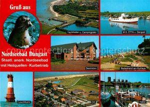 AK / Ansichtskarte Dangast Nordseebad Yachthafen MS Etta Leuchtturm Deichhoern Fliegeraufnahme Hafen