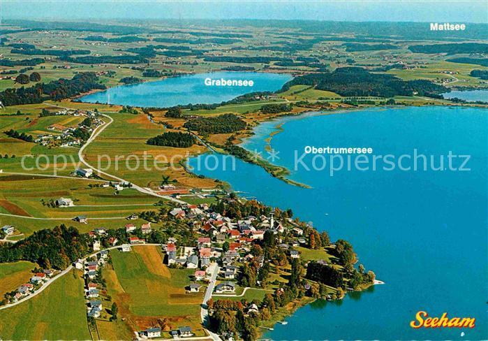 AK / Ansichtskarte Seeham Fliegeraufnahme mit Grabensee Obertrumersee Mattsee Kat. Seeham
