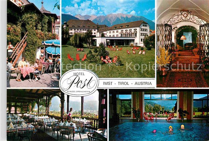 AK / Ansichtskarte Imst Tirol Hotel Post Schloss Sprengenstein Terrasse Park Speisesaal Hallenbad Kat. Imst