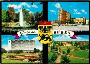AK / Ansichtskarte Dueren Rheinland Langemarckplatz Rathaus Stadtgarten Stadthalle Kat. Dueren
