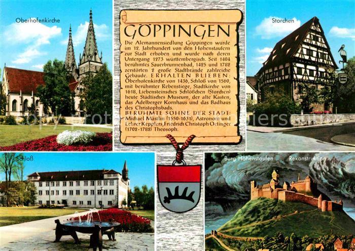 AK / Ansichtskarte Goeppingen Oberhofenkirche Storchen Schloss Burg Hohenstaufen Kat. Goeppingen