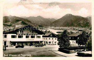 AK / Ansichtskarte Bad Wiessee Tegernsee Ortsansicht mit Blick zum Tegernsee und Alpen