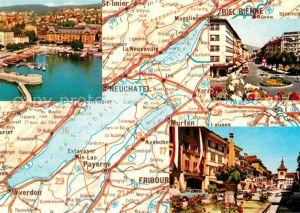 AK / Ansichtskarte Bienne Biel Landkarte Fliegeraufnahme Hafen Teilansicht  Kat. Bienne