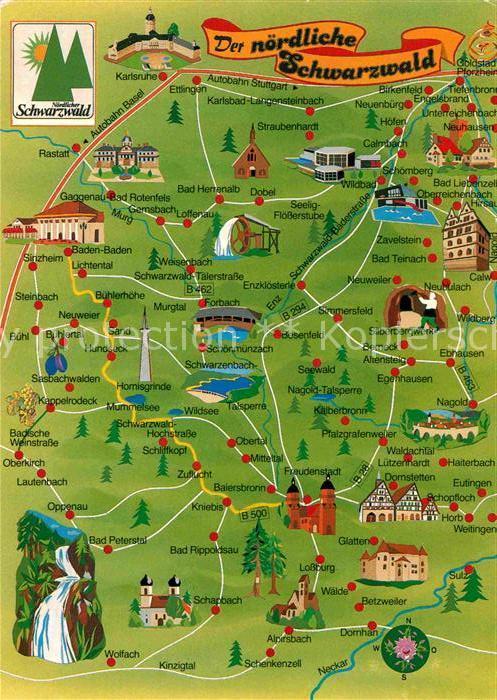 Ak Ansichtskarte Freudenstadt Landkarte Noerdlicher Schwarzwald