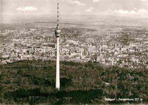 AK / Ansichtskarte Stuttgart Fernsehturm Blick ueber die Stadt Fliegeraufnahme Kat. Stuttgart