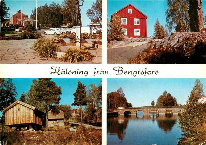 AK / Ansichtskarte Bengtsfors Ortsmotiv Holzhuetten Bruecke Kat. Schweden