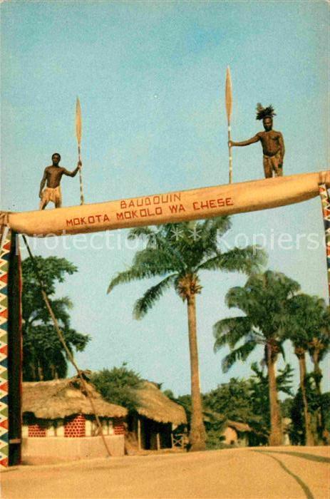 AK / Ansichtskarte Congo Belge Een triomfboog vervaardigd door middel van een prauw Kat. Afrika