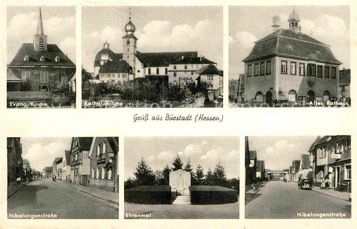 AK / Ansichtskarte Buerstadt Kirche Rathaus Nibelungenstrasse Ehrenmal Kat. Buerstadt