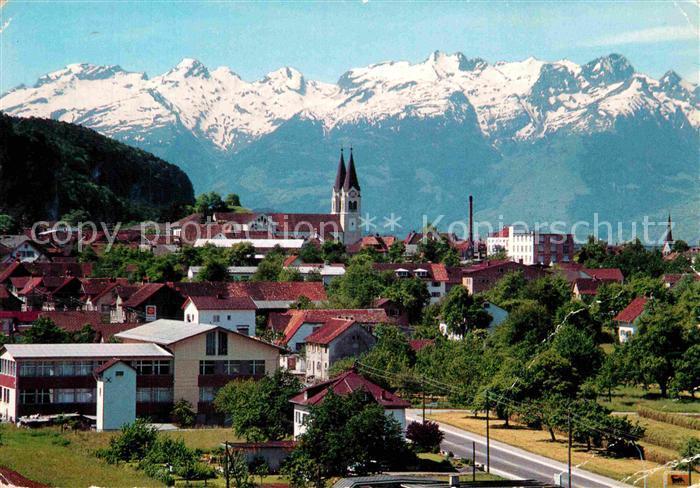 Vorarlberg Karte Berge.Ak Ansichtskarte Goetzis Vorarlberg Ortsansicht Mit Kirche Blick Gegen Schweizer Berge Kat Goetzis