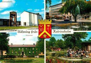 AK / Ansichtskarte Katrineholm Naevertorpskyrkan Torget Tingshuset Stadsparken Kat. Katrineholm