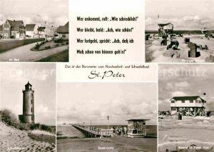 AK / Ansichtskarte St Peter Ording Seebruecke Leuchtturm Strand  Kat. Sankt Peter Ording