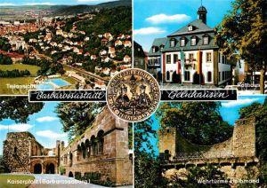AK / Ansichtskarte Gelnhausen Teilansicht Rathaus Kaiserpfalz Barbarossaburg Wehrtuerme Halbmond Kat. Gelnhausen