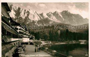 AK / Ansichtskarte Garmisch Partenkirchen Alpenhotel Eibsee mit Zugspitzmassiv Kat. Garmisch Partenkirchen