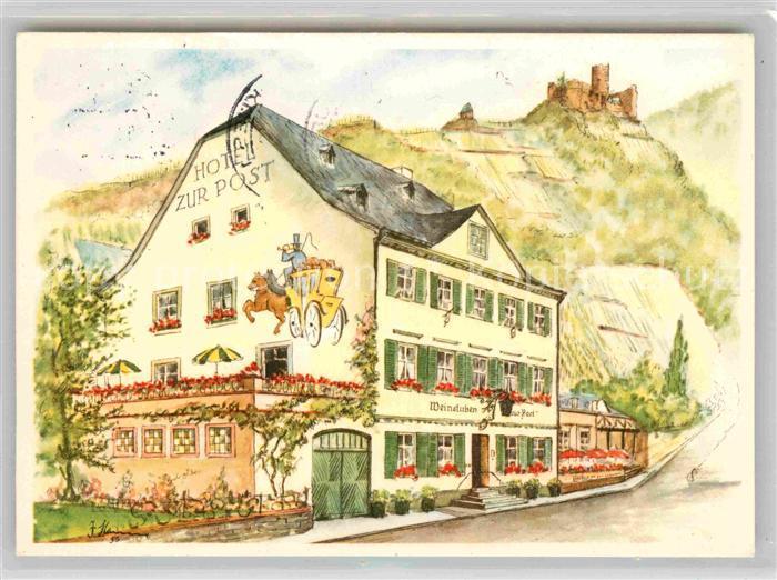 AK / Ansichtskarte Bernkastel Kues Hotel zur Post Weinstuben Kuenstlerkarte Kat. Bernkastel Kues