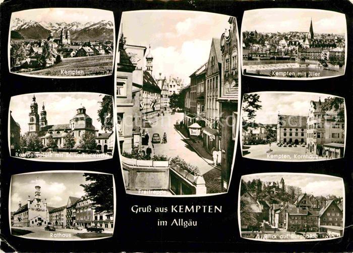 AK / Ansichtskarte Kempten Allgaeu Gesamtansicht Residenzplatz Sankt Lorenz Kirche Kornhaus Freitreppe Kat. Kempten (Allgaeu)