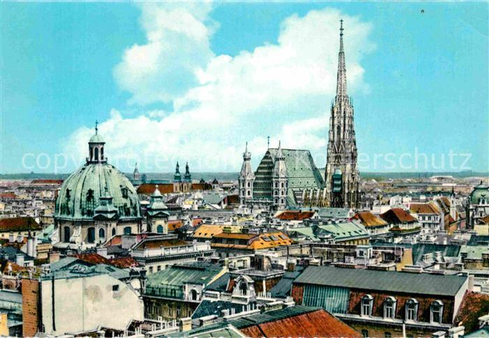AK / Ansichtskarte Wien Stadtbild mit Stefansdom Peterskirche Kat. Wien
