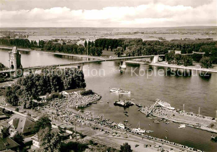 AK / Ansichtskarte Worms Rhein Rheinbruecke Hafen Strandbad  Kat. Worms