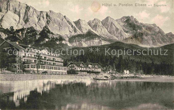 AK / Ansichtskarte Eibsee Hotel Pension Eibsee mit Zugspitze Kat. Grainau
