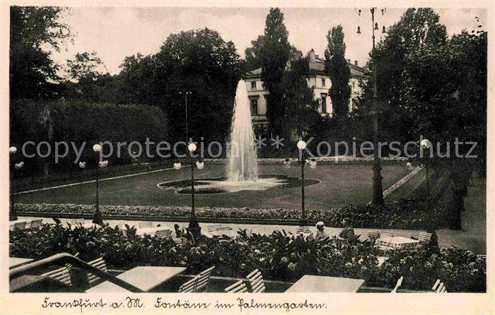 AK / Ansichtskarte Frankfurt Main Foentaene im Palmgarten Kat. Frankfurt am Main