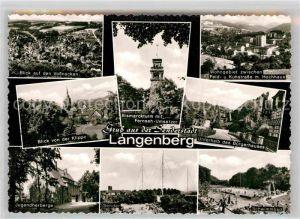 AK / Ansichtskarte Langenberg Rheinland Panorama Sender Bismarckturm Klippeblick Buergerhaus Jugendherberge Sender Schwimmbad Kat. Velbert