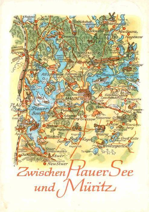 Karte Seen Mecklenburgische Seenplatte.Ak Ansichtskarte Malchow Zwischen Plauer See Und Mueritz Mecklenburgische Seenplatte Landkarte Kat Malchow Mecklenburg
