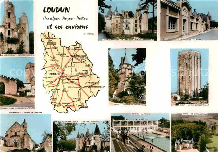 AK / Ansichtskarte Loudun Roche Rigault Ruines de Chateau Tour Carree Curcay Eglise de Chaseigne Kat. Loudun