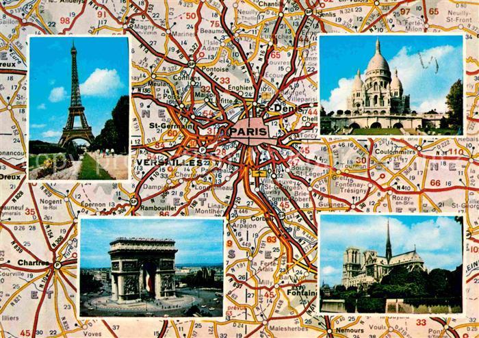 Karte Paris Eiffelturm.Ak Ansichtskarte Paris Eiffelturm Triumphbogen Notre Dame Kat Paris