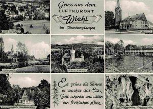 AK / Ansichtskarte Wiehl Gummersbach Schloss HOmburg Freibad Tropfsteinhoehle Traubengrotte  Kat. Wiehl
