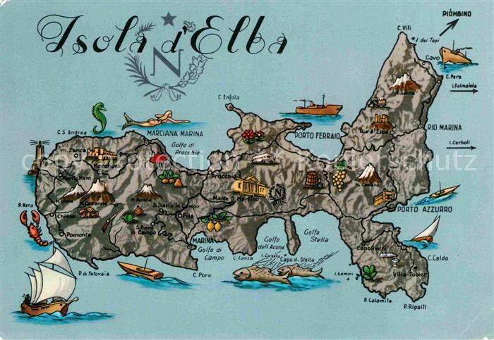 Elba Karte.Ak Ansichtskarte Isola D Elba Lageplan Karte Kat Italien