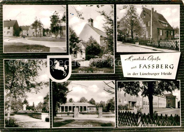 AK / Ansichtskarte Fassberg Im Gehege Ehrenhais Hauptwache Volksschule Kirche Sankt Michael Kat. Fassberg