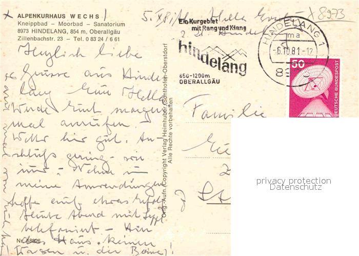 AK / Ansichtskarte Hindelang Alpenkurhaus Wechs Kat. Bad Hindelang 1