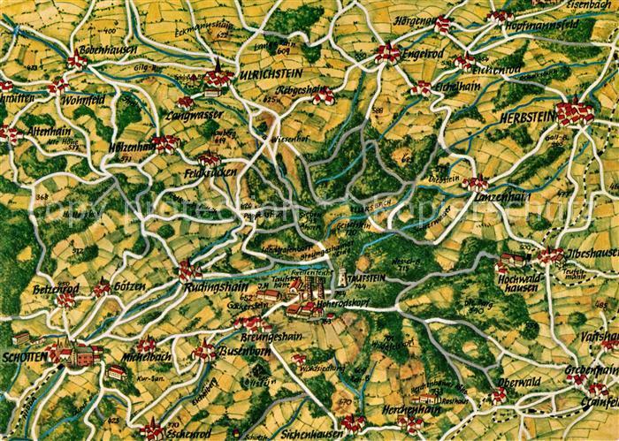 AK / Ansichtskarte Schotten Vogelsberg und Umgebung Landkarte Kat. Schotten
