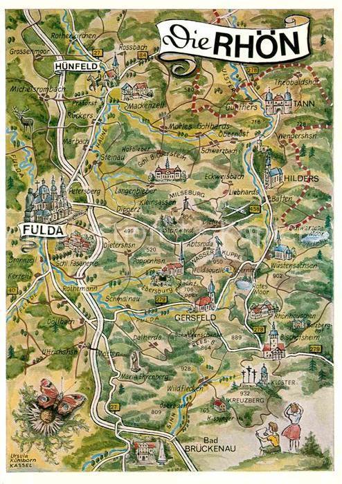rhön karte Landkarte Von Der Rhön | Deutschland Karte