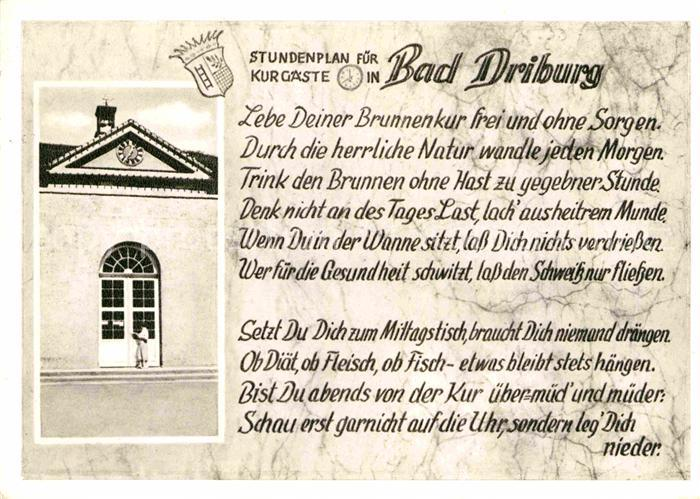 AK / Ansichtskarte Bad Driburg Stundenplan fuer Kurgaeste Kat. Bad Driburg